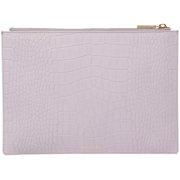 Whistles Matte Croc Medium Leather Clutch Bag , Lilac (€52) ❤ liked on Polyvore featuring bags, handbags, clutches, lilac, special occasion clutches, handbag purse, leather purses, leather clutches and leather handbags