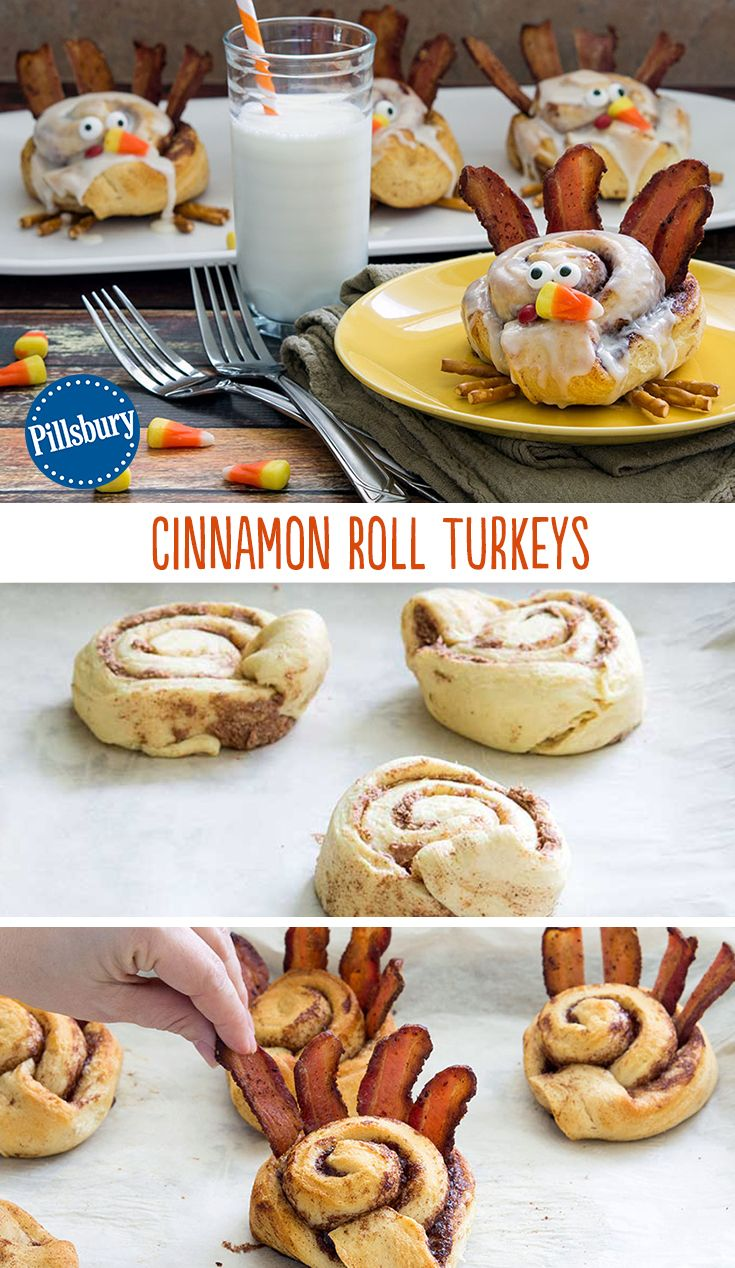Start a new Thanksgiving morning tradition with Cinnamon Roll Turkeys! These fun creations are the perfect breakfast to put a smile on your kid's face. Plus, everyone will gobble, gobble them up!