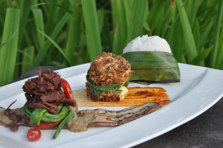 Breaded chicken with bean cake served with gudeg and steamed rice with coconut milk #HyattRegencyYogya