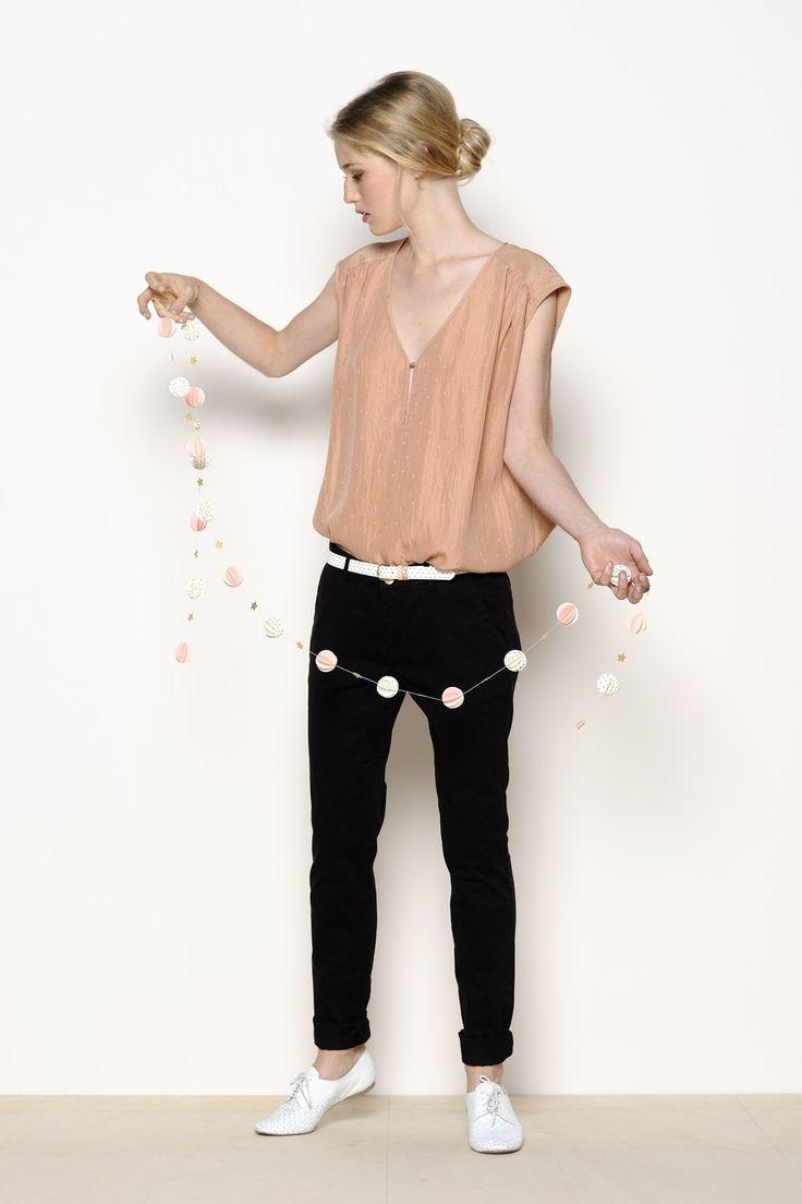 pantalon Xoup noir 97% coton 3% élasthanne - pantalon Femme -