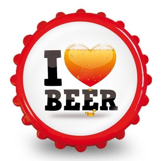 Bieropener i love bier  Bierdop Flesopener met de tekst: I love beer. Erg leuk als kado voor een verjaardag! De flesopener heeft twee magneten aan de binnenkant waardoor je deze makkelijk aan de koelkast kan bevestigen. De flesopener heeft een diameter van 8 cm.  EUR 2.99  Meer informatie  #sinterklaas #zwartepiet