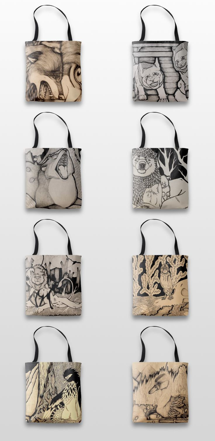 Black and white illustrated animal tote bags