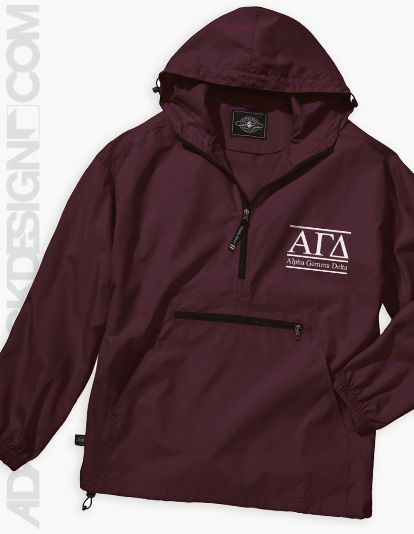 Alpha Gamma Delta - Letter Windbreaker (Maroon or Forest) - $29 - Available until 3/02