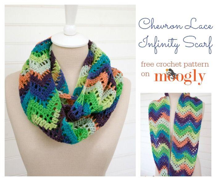 Chevron Lace Infinity Scarf, #crochet, free pattern, #haken, gratis patroon (Engels), shawl, sjaal, col