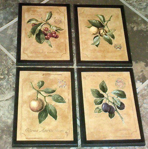 fruit 4 kitchen wall decor signs plaques set colorful yellow country rh pinterest com