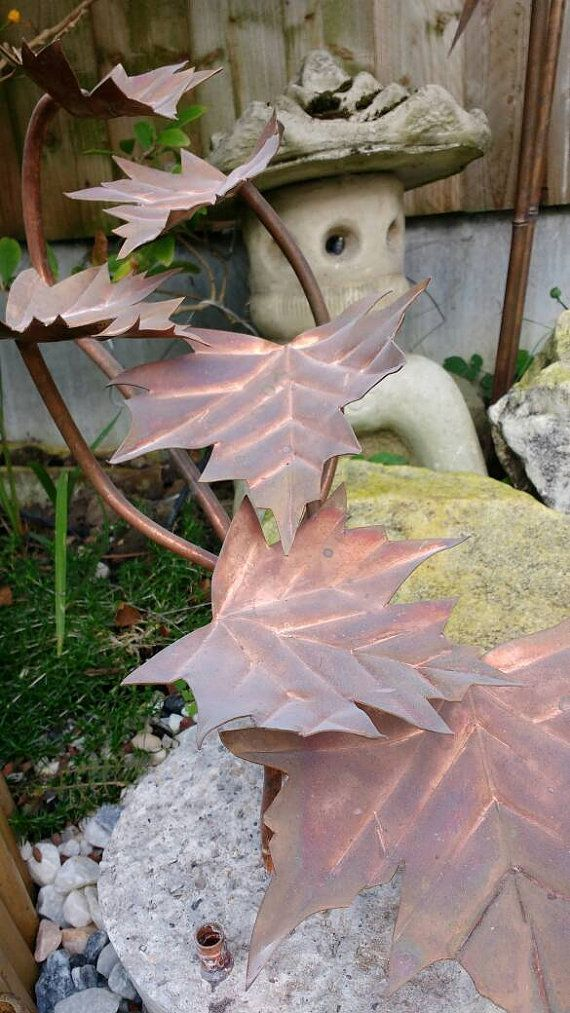 Maple leaf fountain copper sculpture for pond or by DeshcaDesigns