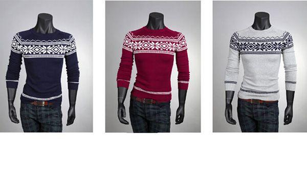 Men Fashion Sweater Crew-Neck Retro Patterns Pullover Knitwear
