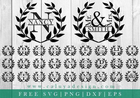 FREE SVG & PNG Link | Wreath Split Monogram Cut Files, svg