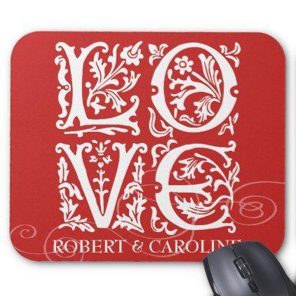 Ornamental Alphabet Love Add Names Mouse Pad | Zazzle.com