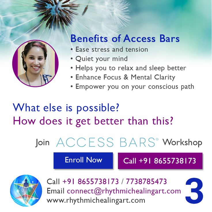 What are the Benefits of #Access #Bars? Ease stress and tension Quiet your mind Helps you to relax and sleep better Enhance Focus & Mental Clarity Empower you on your conscious path  To know what else is possible? And how does it get better than this? Call us at +91 8655738173 / 7738785473 to enroll for #Access #Bars workshop. You may also visit http://www.rhythmichealingart.com/workshop/  #Release #Depression #Stress #Anxiety #Insomnia #WhatIf? #BeingYou #Freedom #Joy #Living #RHAS…