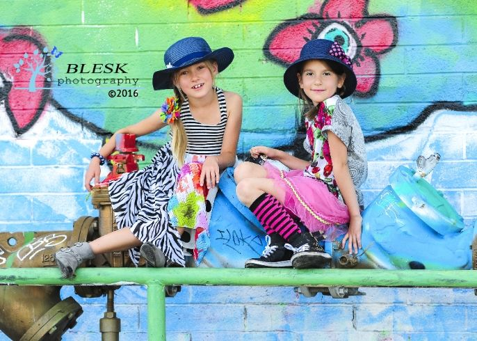 Kids photography, BFF photo session, graffiti wall, Las Vegas by Blesk Photography - Capturing the flash of life. Serving Las Vegas NV, Henderson NV, Boulder City NV areas. - Children