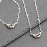 Hands In Heart Shape Silver Plated Necklace