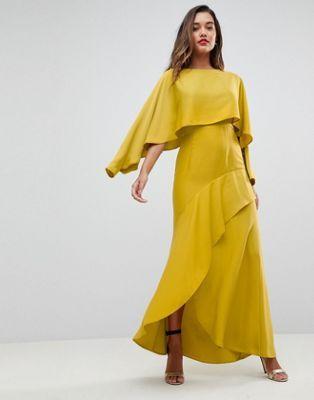 ASOS Long Sleeve Crop Top Satin Maxi Dress with Kimono Split Skirt