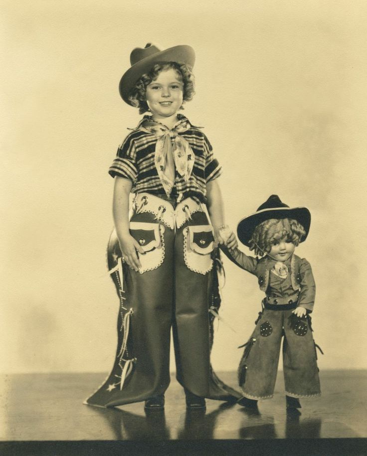 "Shirley Temple in 1936, celebrating the Texas Centennial. Ranger outfit, and more to be shown in Ft. Worth, TX exhibit, June 20-27th and auctioned at Theriault's event, ""Love, Shirley Temple"" on July 14, 2015. https://www.theriaults.com/love-shirley-temple-events-auction-schedule"