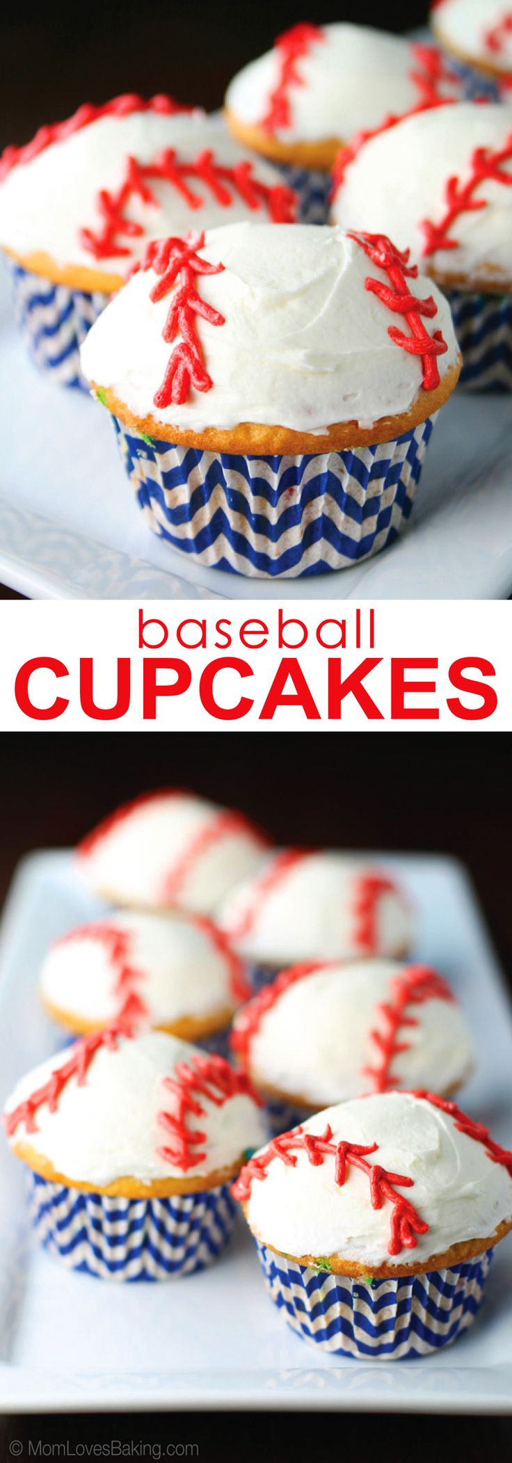 Learn how to make these cute Baseball Cupcakes. Click pin for the full recipe on http://www.momlovesbaking.com