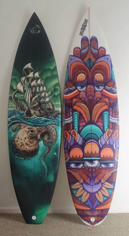 Manky Chops Surfboards  Toby Jenkins on the left and mine on the right