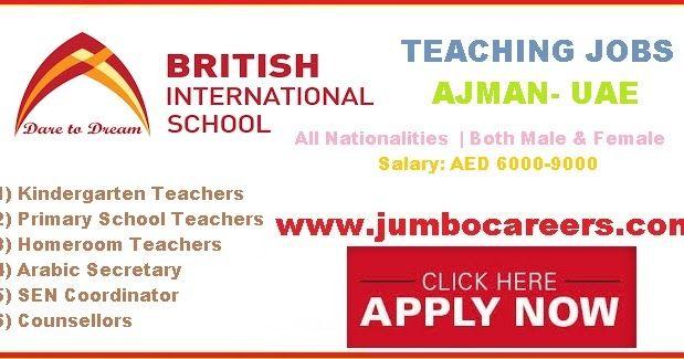 Latest Walk In Interview In Ajman For School Teaching Staffs