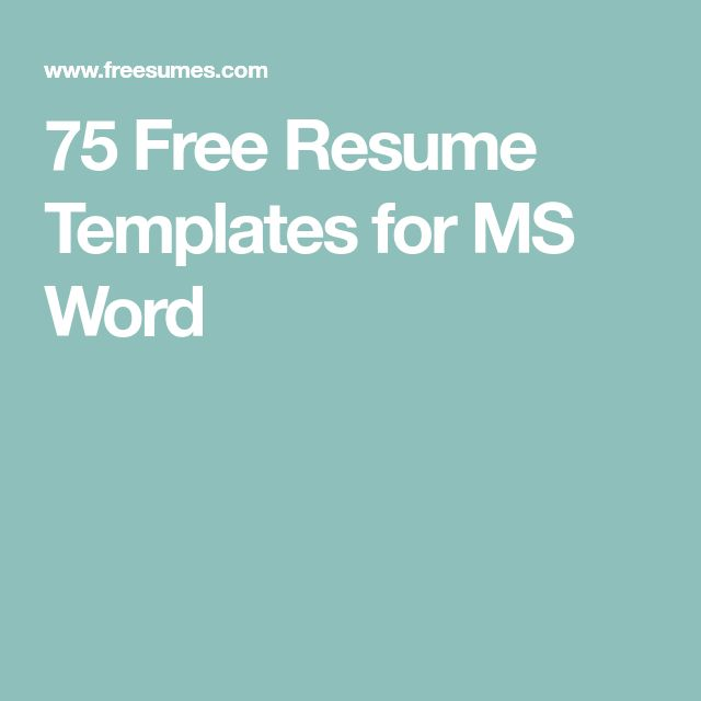 75 Free Resume Templates for MS Word