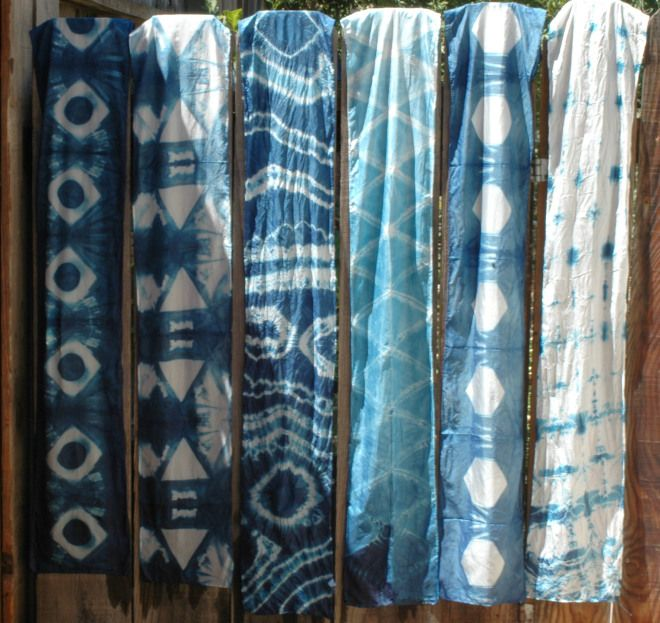 Shibori dyed scarves using Itajime and Kanoko techniques.