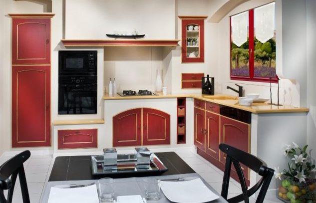 Les cuisines Morel - Cuisine blanche et rouge