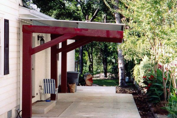 enclosure brilliant wood patio cover designs in red paint color schemes with white corrugated plastic roofing sheets and large outdoor garbage containers