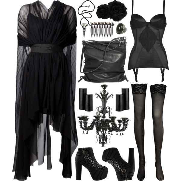Candlelight by deca-froses on Polyvore featuring Louiza Babouryan, Dita Von Teese, Jeffrey Campbell, Ina Kent, Wet Seal, Tasha, ASOS, Debenhams and goth