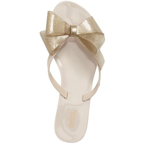 Women's Melissa Harmonic Bow Iii Flip Flop (71 CAD) ❤ liked on Polyvore featuring shoes, sandals, flip flops, sparkly flip flops, sparkly sandals, melissa flip flops, sparkly shoes and melissa shoes