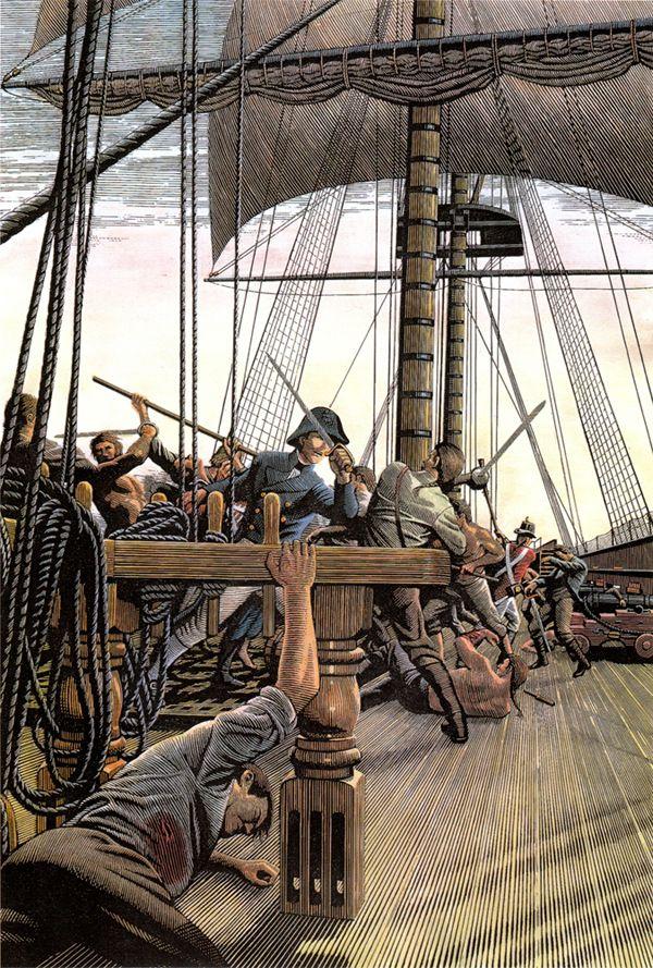 Battle on a ship deck