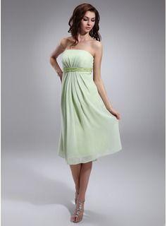 Empire Strapless Knee-Length Chiffon Charmeuse Maternity Bridesmaid Dress With Ruffle Beading Sequins (045022463) - JJsHouse