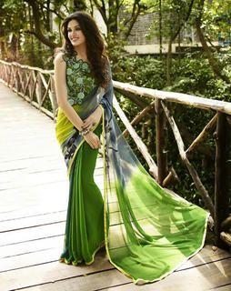 Green Georgette Saree saree-green-blouse-green6115