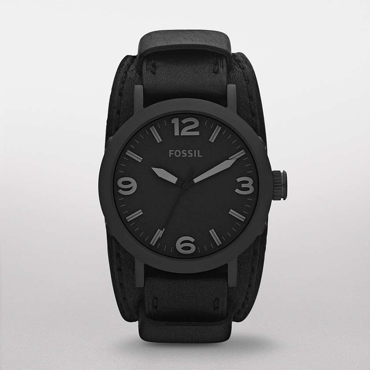 $125 FOSSIL® Watch Styles Utility Watches:Men Clyde Stainless Steel and Leather Watch – Black JR1364