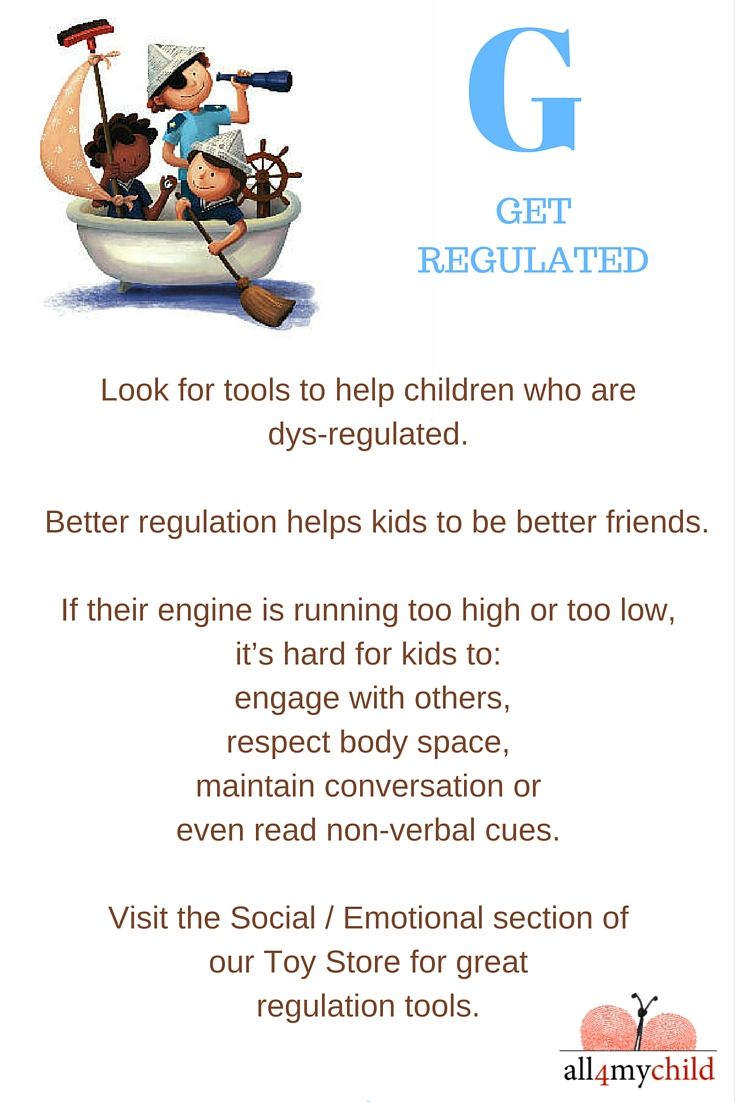 If kids are well regulated, they have a better chance of being better friends.  Check out our regulation tools in our Toy Store under Social / Emotional >> http://all4mychild.com/toy-store/  #socialskills #FriendshipMonth