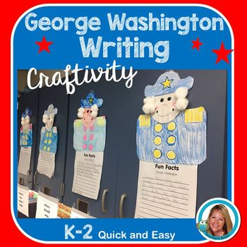 This George Washington Craftivity is a fun way to engage your students in writing!  It also makes an adorable display for your student's to display their work!Pg. 1 CoverPg. 2 George Washington's Head (color and just add 4 cotton balls for the hair)Pg. 3 The Upper Body of GeorgePg. 4 Fun FACTS about George Washington Writing Paper (with a word bank at the bottom)Pg. 5 Credits I read a book about George Washington first.