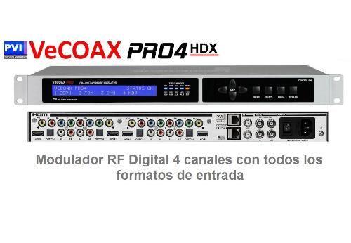 Modulador Vecoax Pro4 HDX RF Digital 4 canales en HD con entradas universales multiformato