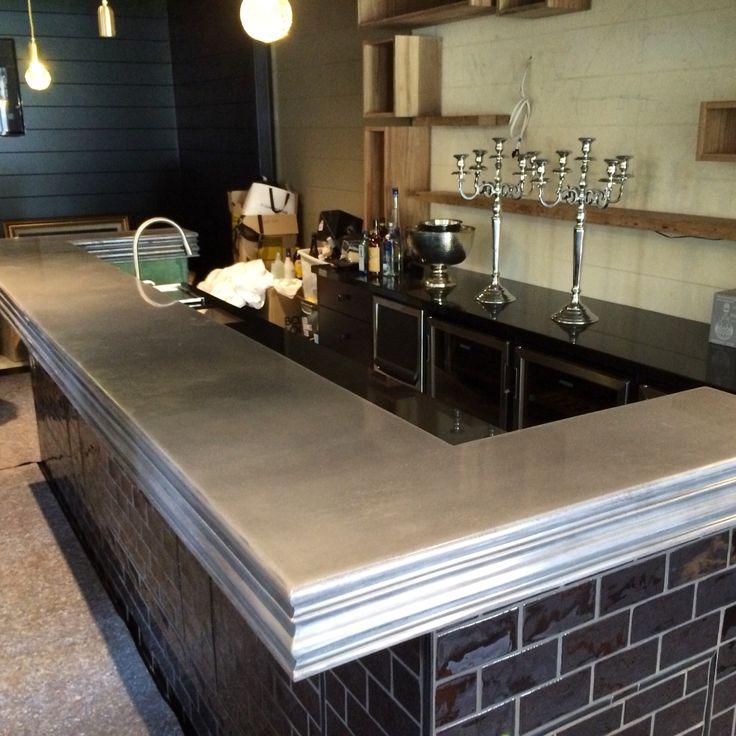 Concrete bar top custom profile edge