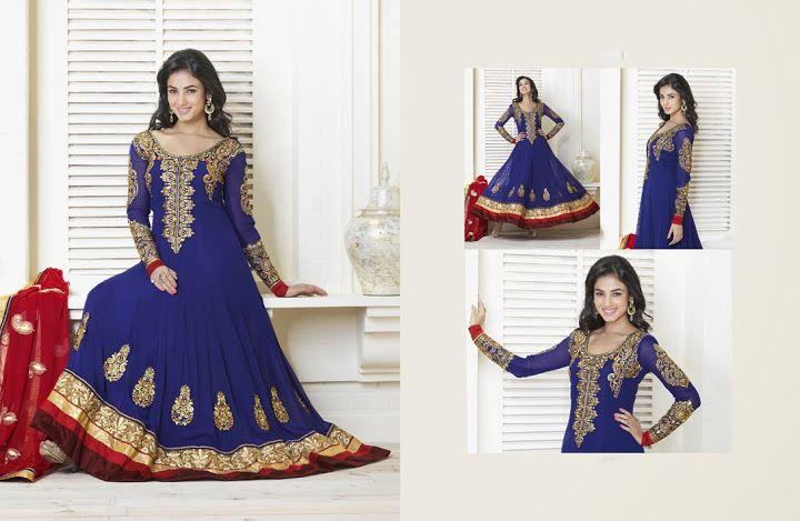 Chic Royal Blue Salwar Kameez   StylishKart.com