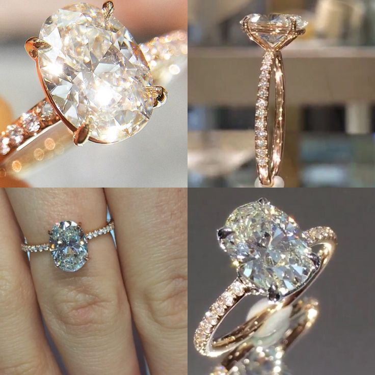 Lauren B 18k rose gold. Paved diamond setting. 2k oval center diamond. NO HALO! This is my dream ring. Model RS-101. Slightly raised profile though if band holding the center stone could be paved like the RS-63...that would be perfection. D color, VS1 clarity