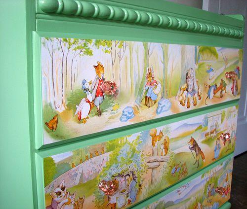Beatrix Potter changing table / dresser decoupage