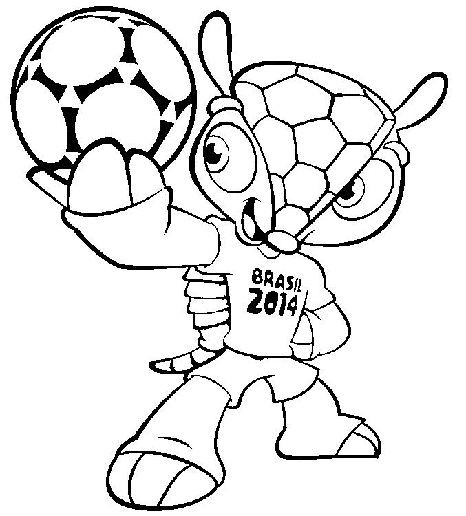 | free printable Coloring Page of the2014 FIFA World Cup™ mascot Armadillo Fuleco frommorningkids.net |