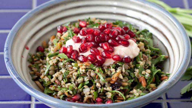 George Calombaris' Cypriot grain salad recipe. You need to make this to-die-for Mediterranean salad, finished with fresh pomegranate.