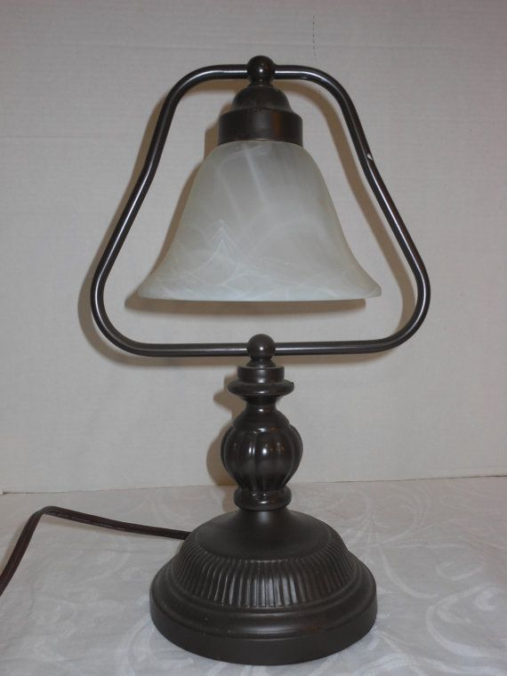 vintage accent lamp bronze finish frosted by eggertsvilletreasure 29. Black Bedroom Furniture Sets. Home Design Ideas