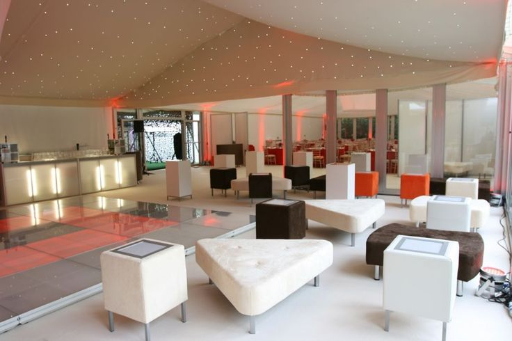 Ivory Star Cloth lining, Lighting. Lounge Area. LED Bar. Dance Floor. Marquee Corporate Event. Party Marquee. Dancing Marquees
