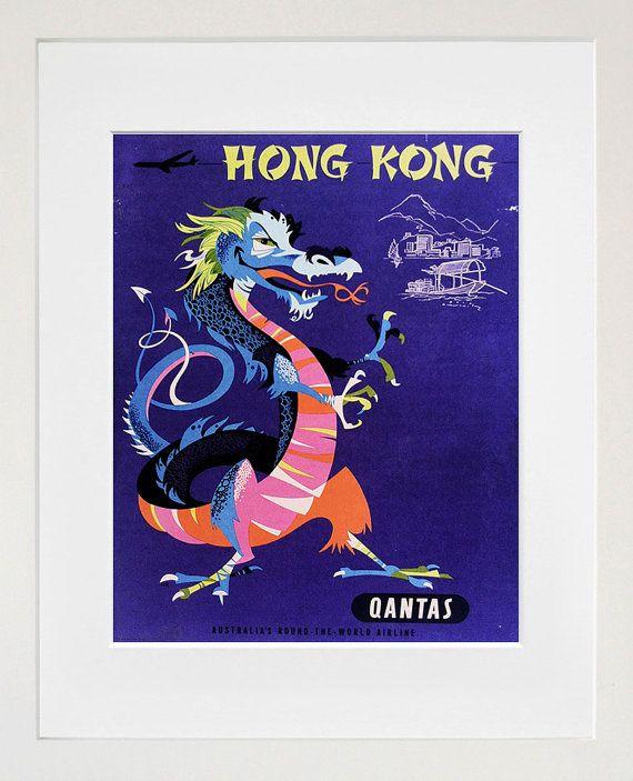 Travel Art Hong Kong Print Poster China Vintage Home Decor