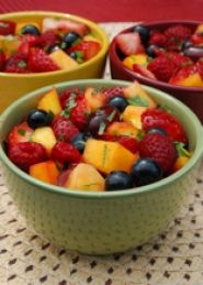 Fast Fruit Salad Recipe     When you crave something sweet, try this easy fruit salad that is loaded with vitamin C and antioxidants. This low calorie fruit salad can double as a quick, healthy snack or yogurt topping.  Heart Healthy, Diabetic Friendly and Gluten-Free