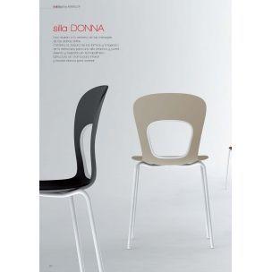 Silla de cocina Dona de Mavilop es una silla con estructura cromada para interior y lacada en blanco para exterior.La silla Dona es una ilusión a los mensajes de los diarios online.  Combina la dulzura de las formas y la ligereza de la estructura para una silla práctica y juvenil.  Asiento y respaldo en tecnopolímero.