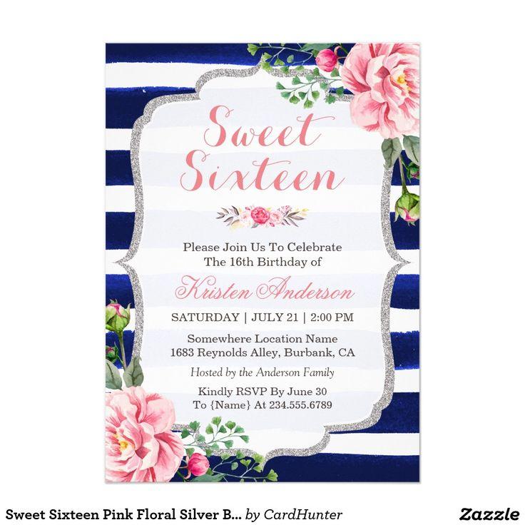 28 best blue sweet sixteen invitations images on pinterest sweet sweet sixteen pink floral silver blue stripes stopboris Images