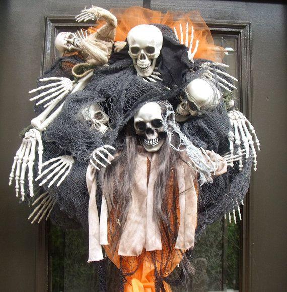 Scary Halloween Wreath Skull Wreath Skull and Bones by LuxeWreaths