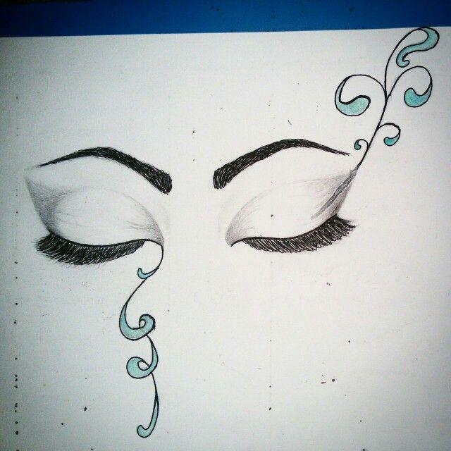 Disegno a matita e rapidographos occhi chiusi maschera di for Disegni facili da disegnare a matita