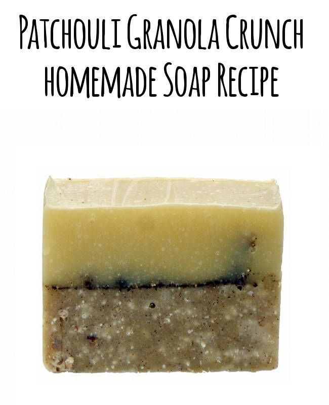 "This homemade patchouli soap recipe is perfect for the hippie in you! It contains a naturally exfoliating ""granola crunch"" and patchouli essential oil and is palm free. It even comes with free printable cigar band soap labels for gifting!"