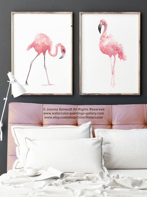 Flamingo 2 Bedroom Suite: Flamingo Nursery Poster Kids Illustration Children Blush